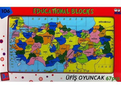 Eğitsel Oyuncaklar Güçlü Toys Turkiye Haritası Harita Puzze 67 Pcs
